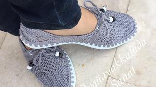 Çok Rahat Çok Şık Gri Babet Yapımıı #knitting shoes