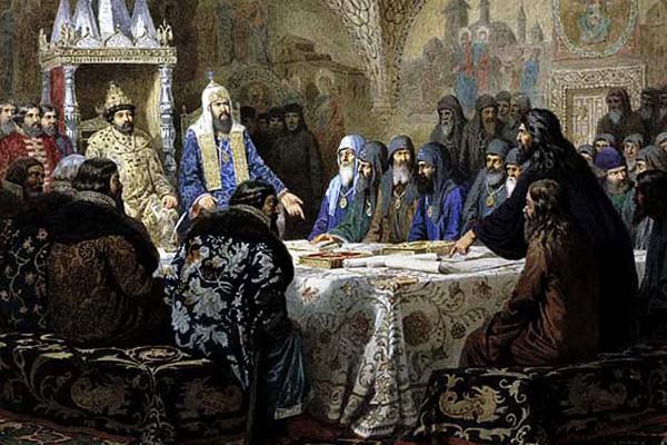 Алексей Кившенко «Никон представляет новые книги на церковном соборе 1654 года»