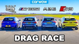 VW Golf R v BMW M135i v Audi S3 v AMG A35: DRAG RACE