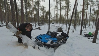 Возвращение к ХИЖИНЕ охотника. Экспедиция в тайгу. ОПАСНЫЙ путь к лачуге на снегоходе. На ночь в лес
