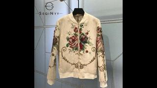 Seqinyy куртка цвета хаки 2020 ранняя осень зима новый модный дизайн женские винтажные цветы jacquar бисероплетение высокое