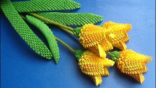 How To Make 3D Origami Tulip Flower | DIY Paper Tulip Flower Home Decor