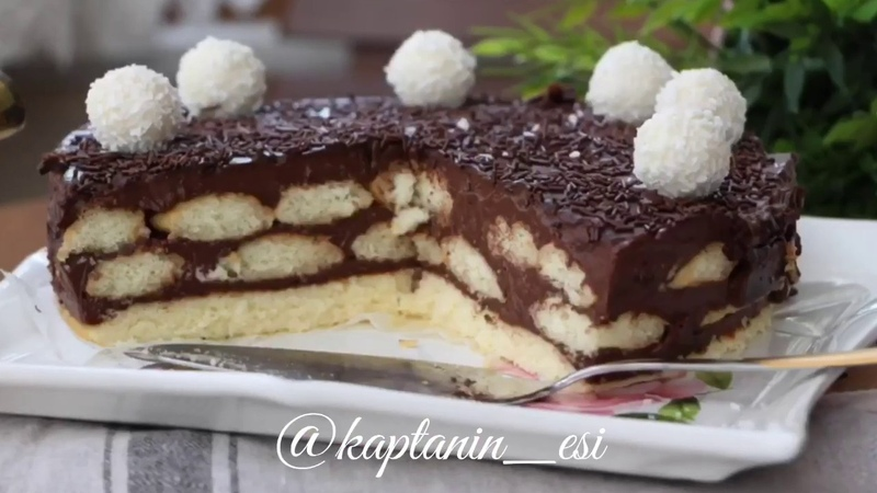 Турецкий торт без выпечки с печеньем, шоколадным заварным кремом Evdeki Malzemelerle Hazırlayacağınız Ev Yapımı Puding Katlı Pasta Kolay Pasta