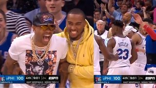 Allen Iverson goes crazy after Jimmy Butler turns defense into offense ! Sixers vs Raptors Game 3