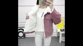 2020 осень зима вельветовая куртка женское пальто из овечьей шерсти короткие куртки женская парка теплое повседневное пальто