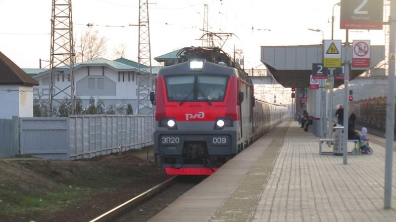 Электровоз ЭП20-009 с поездом№014М Стриж Берлин-Москва станция Кубинка 1 21.04.2019
