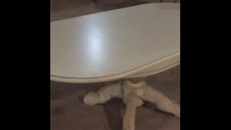 Овальный стол из массива бука цвет: белый Размер 90*130 (+50 ) см. от компании Производитель мебели msad5 - видео 2