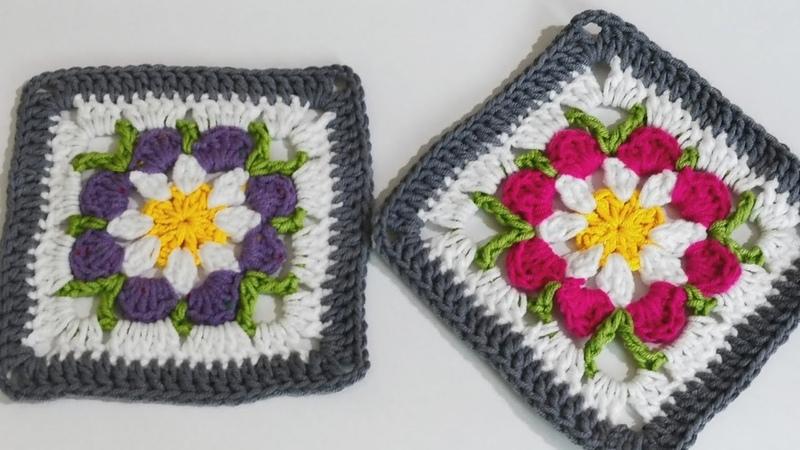 Tığ işi Çiçekli Battaniye Hırka Motif Yapımı motif 25