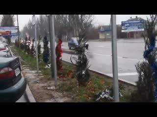 🎄Мелитопольцы нарядили елки вдоль дороги☝️Район АТБ по ул.Ломоносова