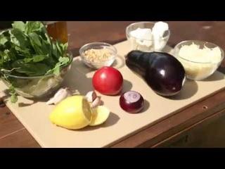 Гриль. Баклажаны по-сицилийски на мангале с томатной сальсой и козьим сыром