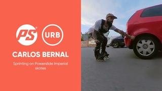 Carlos Bernal sprinting on Powerslide Imperial skates
