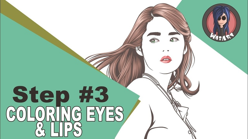 Vexel Art Tutorial using photoshop cs6 (step 3 coloring eyes lips)