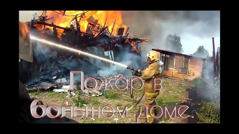 Большой пожар в доме и спасения животных