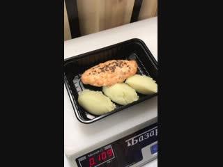 УЖИН. Картофельное пюре с котлетой из лосося и судака с льняным маслом и льняной семечкой 240 г/282 ккал