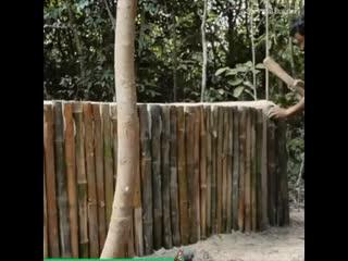 Making a bamboo heated pool