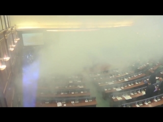 Opposition mps in kosovo release tear gas into parliament to prevent a vote httpst.co8mm6yldhmc