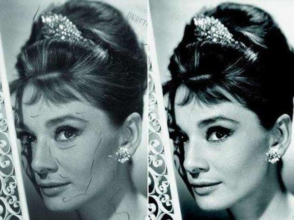 Для плаката знаменитого фильма «Завтрак у Тиффани» (1961) Одри поправили прическу, убрав непослушные волосы, забелили тени и морщинки и лицо в целом. Пометки на первом кадре указывают над чем особо внимательно поработал ретушер.
