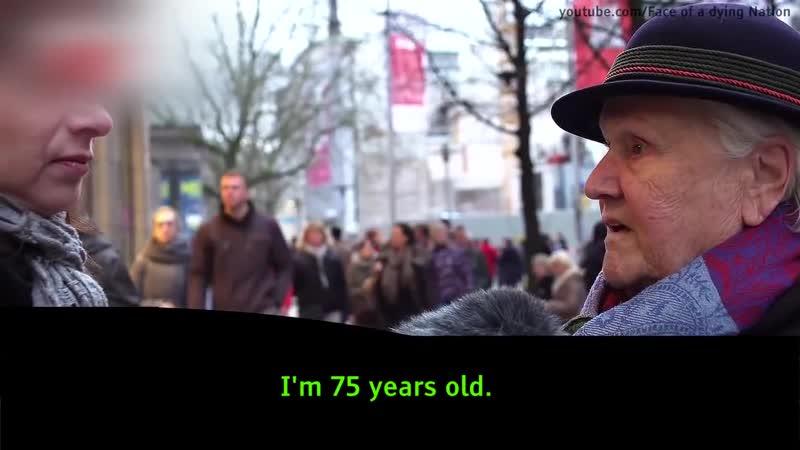 Älter deutsche Dame spricht über Flüchtlinge und wird von junge Muslimen verhöhnt