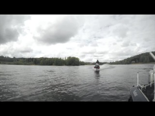 StuntFreaksTeam - Snowmobile wheelies on water