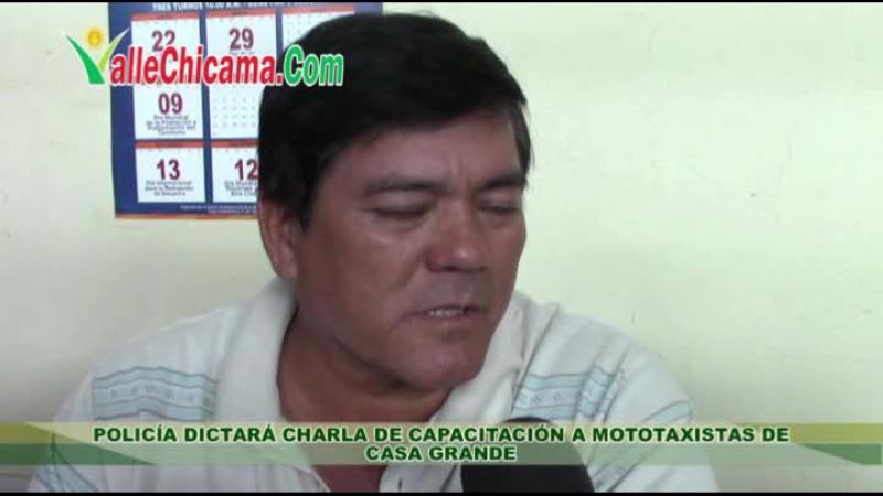 Policía dictará charla de capacitación a mototaxistas de Casa Grande