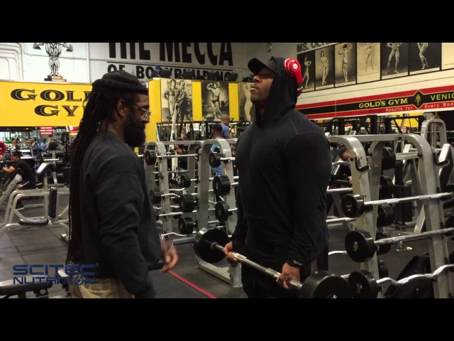 SciTec athlete Shawn Rhoden trains arms in The Mecca