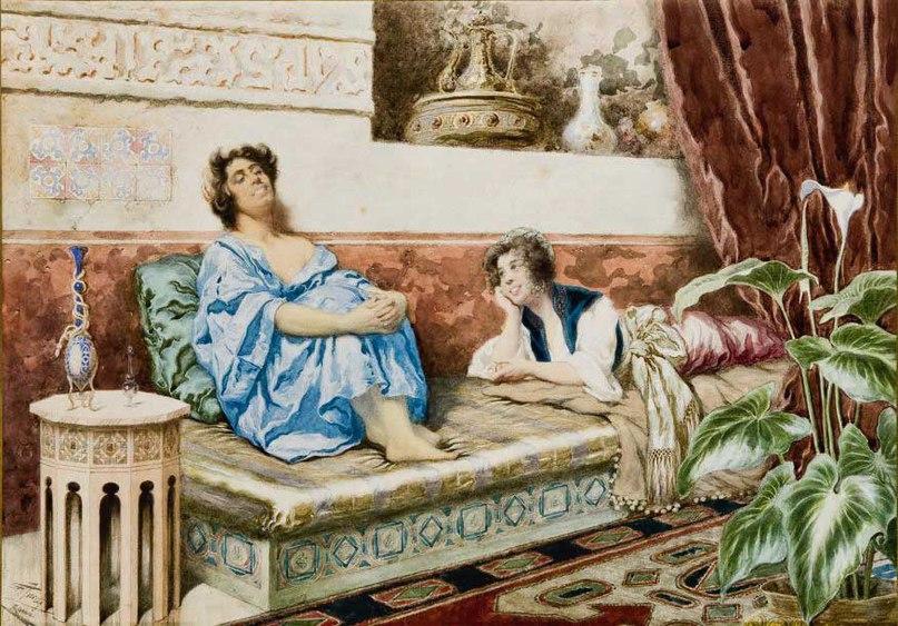 "Giuseppe Aureli (Italian, 1858-1929), ""Отдых в гареме"" (""Le repos du harem"")"
