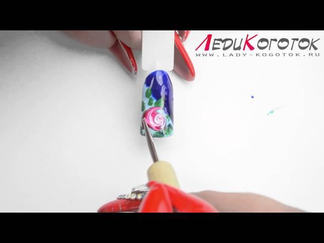 Дизайн ногтей Розы в технике Сырым по сырому Автор Елена Дзык