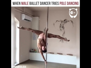 When male ballet dancer tries pole dancing by peter holoda artist