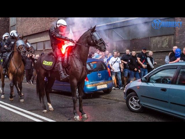 Awantura podczas przemarszu Chorzowa Batorego na stadion Ruchu 14 09 2017 r