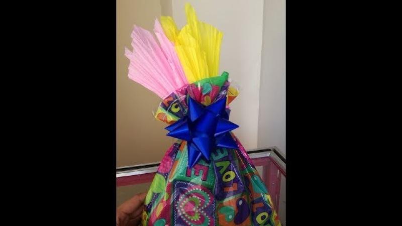 ¿como hacer bolsa de regalo? papel globo y celofan