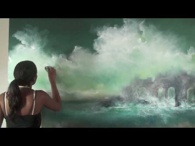 Artist Melanie McCollin-Walker painting Forgotten