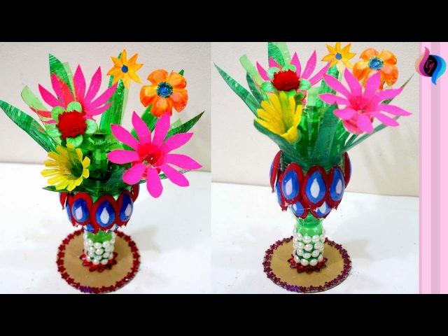How to make flower vase with plastic bottle step by step DIY Craft with plastic bottles flowers
