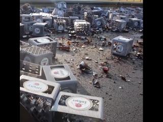 350 crates of beer smash on German highway