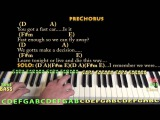 Fast Car (Tracy Chapman) Piano Lesson Chord Chart in A - D A F#m E