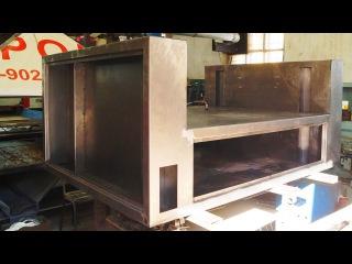 Сборка несущего корпуса лазерного станка для резки и гравировки неметаллов