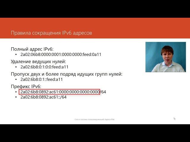 Адреса IPv6 Компьютерные сети Продвинутые темы