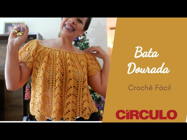 Bata Dourada Fashion em crochê ♥ Fácil