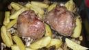 Рулька индейки с картошкой и шампиньонами в духовке. Рецепт.