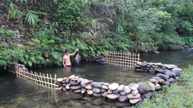 Primitive Technology: Build a Stone Dam to Raise Fish