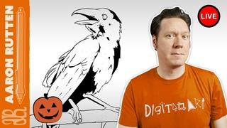  LIVE: Halloween Crow Drawing - Digital Art Live Stream