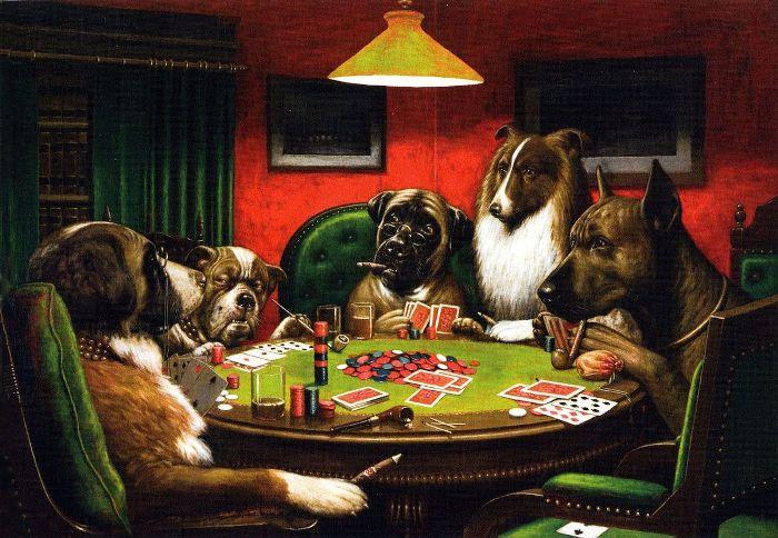 в играют нарисованные карты собаки