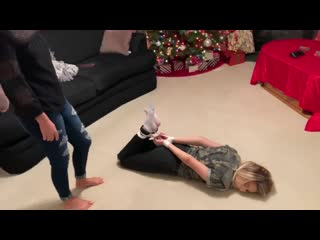 Bound and cleave gagged by the christmas tree