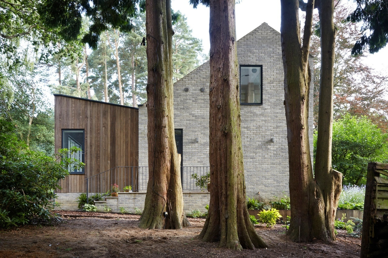 Alma-nac slots angular openings into timber-clad gables of House in the Woods