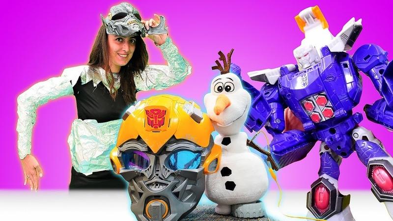 Komik video çocuklar için. Sevcan Olafı Deseptikonlardan kurtarmak için robot oldu