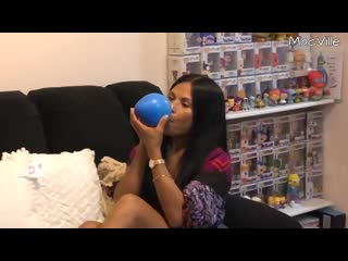 Macville light and dark blue nrl balloons blowing and popping two balloons ft. sit to pop