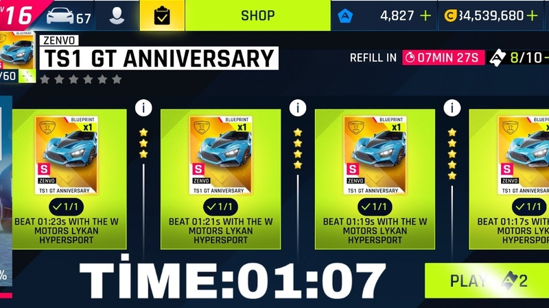Asphalt 9 Special Event Zenvo TS1 GT Day 13 with lykan (01.07)
