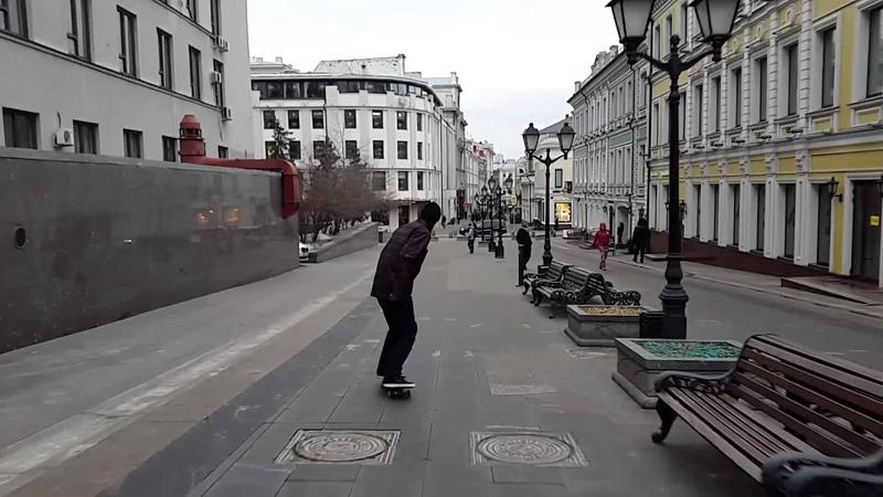 Egor Kaldikov - first day skateboarding after wint