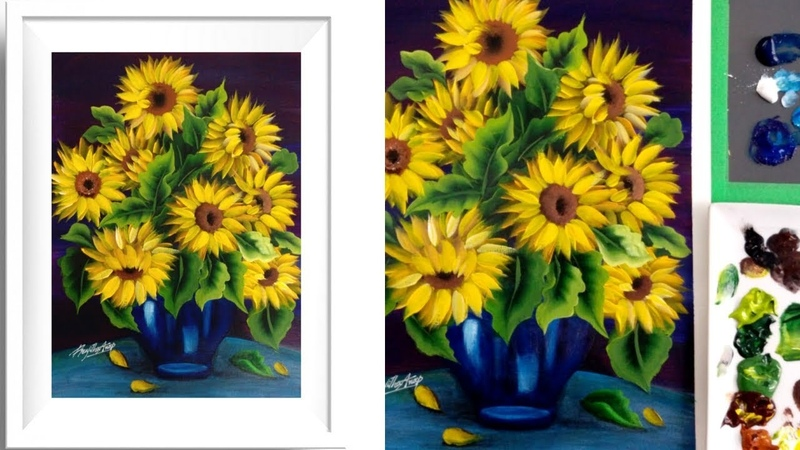 Easy Acrylic Painting Sunflower - Acrylics - Relaxing Demonstration - Satisfying Demo