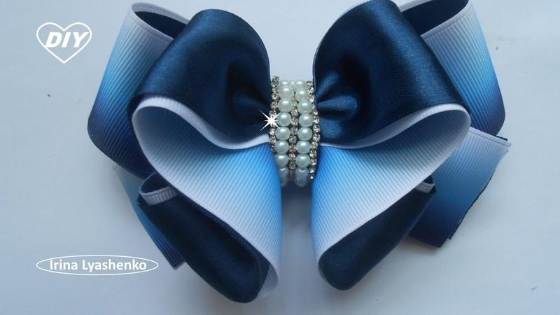 Бант из репсовой и атласной ленты МК DIY Bow Grosgrain Satin Ribbon PAP Laço Grosgrain cetim 128