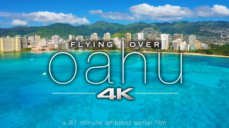 FLYING OVER OAHU 4K Hawaii Ambient Aerial Film Music for Stress Relief Honolulu to North Shore